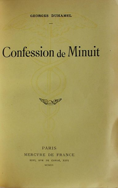 DUHAMEL (Georges). Confession de Minuit. Paris, Mercure de France 1920. In 12. M…