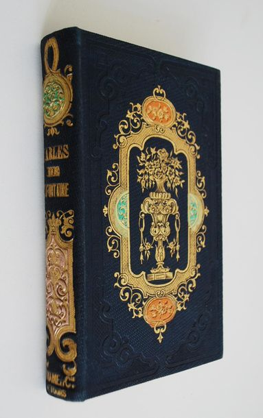 LA FONTAINE. Fables illustrées. Tours, Mame, 1855. Petit in 12. Cartonnage roman…