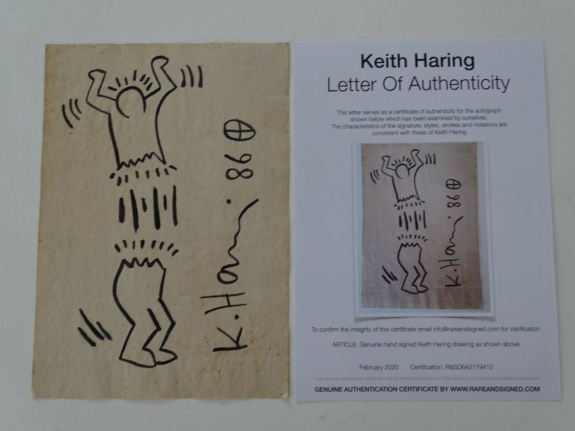 Keith Haring attributed, ink drawing,29.4x20.5 picture cm,Keith Allen Haring (Ma…