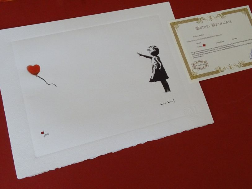 Banksy. Limited edition print reproduction, 38X28cm ca, Certificate of Authentic…