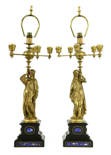 A pair of gilt bronze figural candelabra, late 19th century, each with six branc…