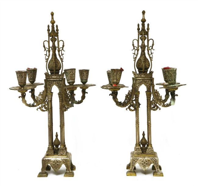 A pair of four branch bi metal candelabra, late 19th century/early 20th century,…