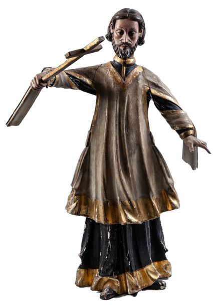 A carved and painted wood sculpture of Saint John of Nepomuk  Damages  62 cm