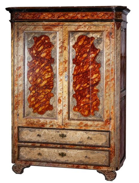 A Spanish simulated hardstone painted wood wardrobe  210 x 60 x 134 cm