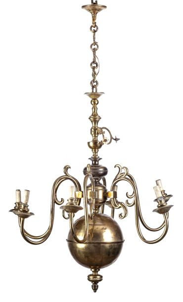 A gilt brass five light ceiling lamp in the Dutch style  105 x 70 cm
