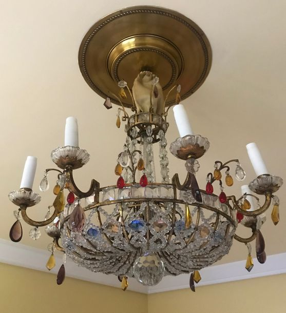 A bronze coloured beaded glass ceiling lamp in the Neoclassical style  65 x 70 c…