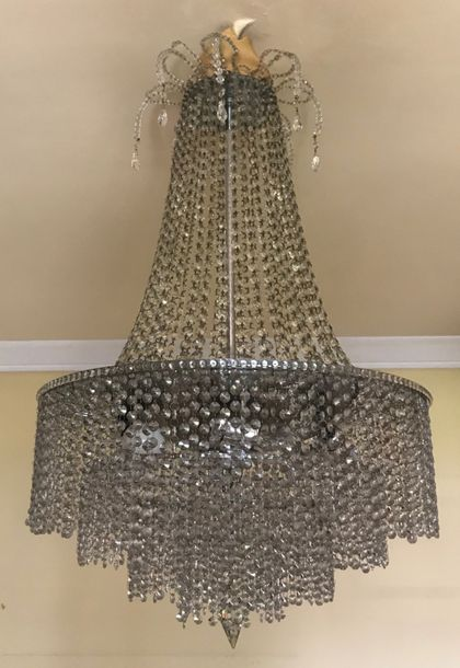A beaded glass ceiling lamp  95 x 65 cm