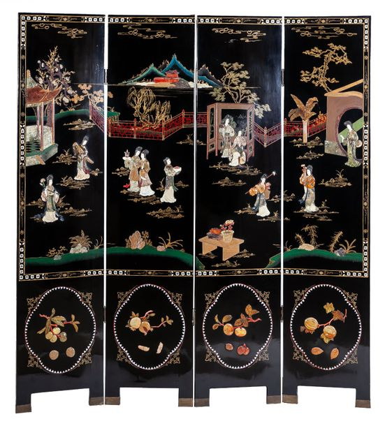 A black lacquered four leafs folding screen with pietra dura, Oriental work of t…