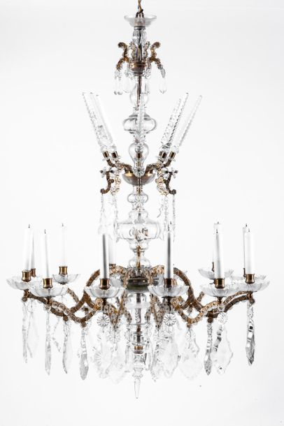 A glass and bronze twelve light ceiling lamp  Damages  108 x 77 cm