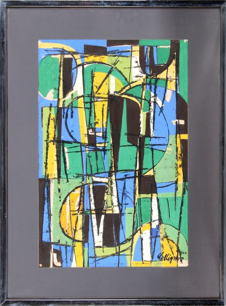 Georges COLLIGNON. Abstraction. 1949. Gouache, 49 x 32. Signée et datée en bas à…