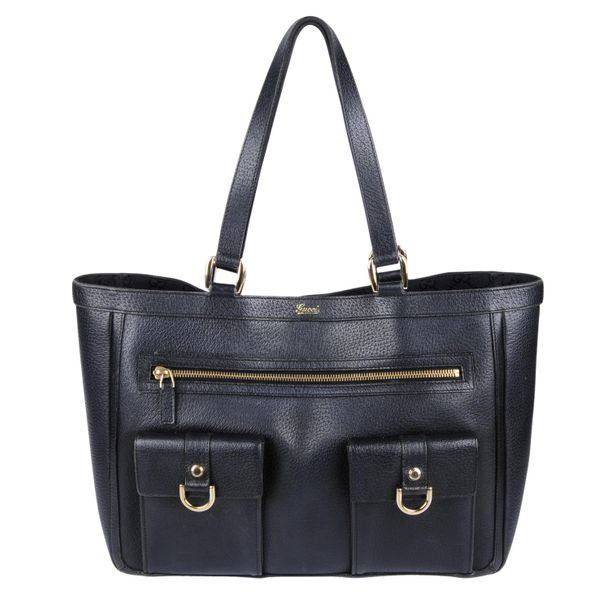 GUCCI an Abbey Pocket Tote handbag. Crafted from black leather, featuring dual f…
