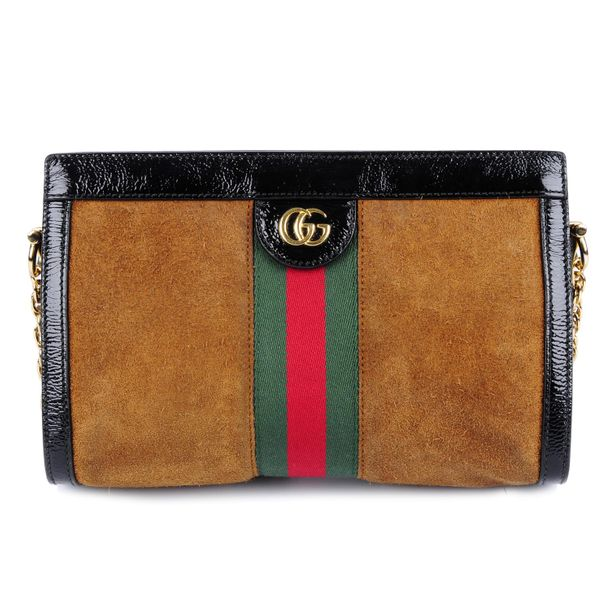 GUCCI an Ophidia brown suede handbag. Designed with a brown suede exterior and b…