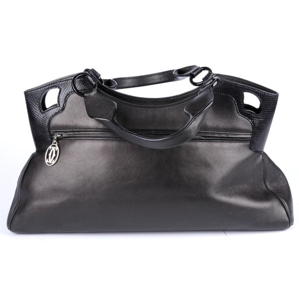 CARTIER a black leather Marcello De Cartier handbag. Designed with a black leath…