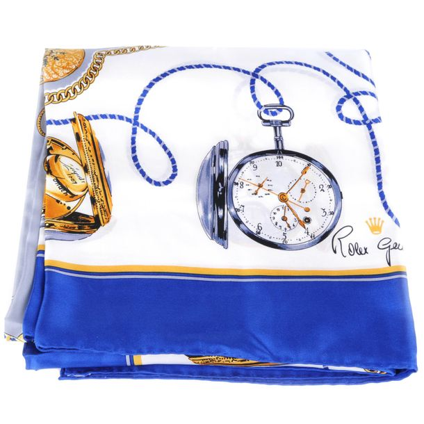 ROLEX a silk scarf. Featuring printed pocket watches in white, blue, grey and go…