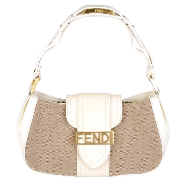 FENDI a canvas Zucca handbag. Crafted from beige zucca canvas with lightly textu…