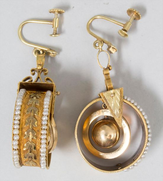 Damen Ohrhänger / A pair of gold earrings with pearls Material: Gold 585/000 14 …