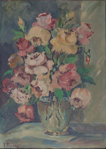J. Frech (20. Jh.), 'Rosenstrauß in Glasvase' / 'A bouquet of roses in a glass v…