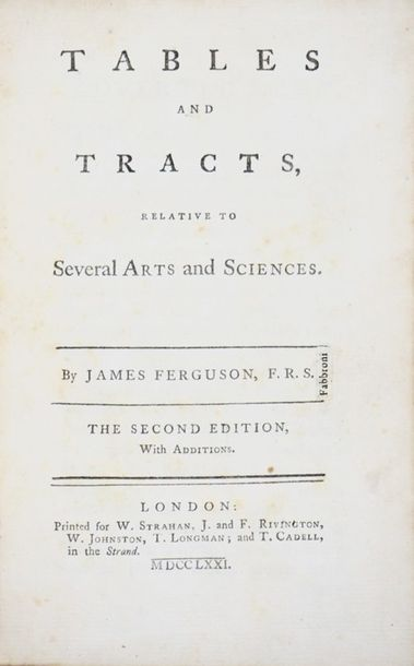 Arts and Sciences. FERGUSON. Tables and Tracts relative to Several Arts and Scie…