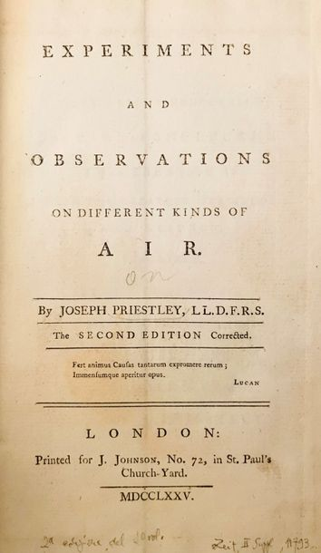 Chemical Physics. PRIESTLEY. Experiments and observations on different kinds of …