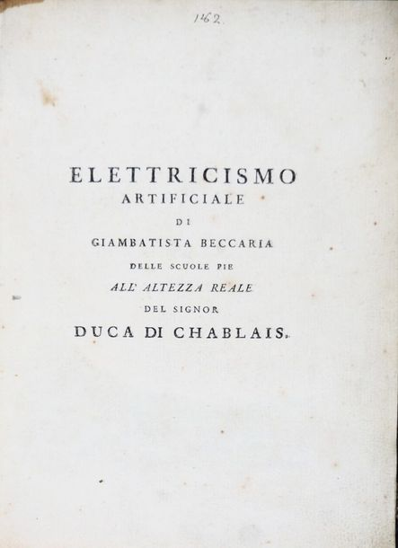 Electricity. Lot of three works of Beccaria bound in a volume. Electricity. Lot …
