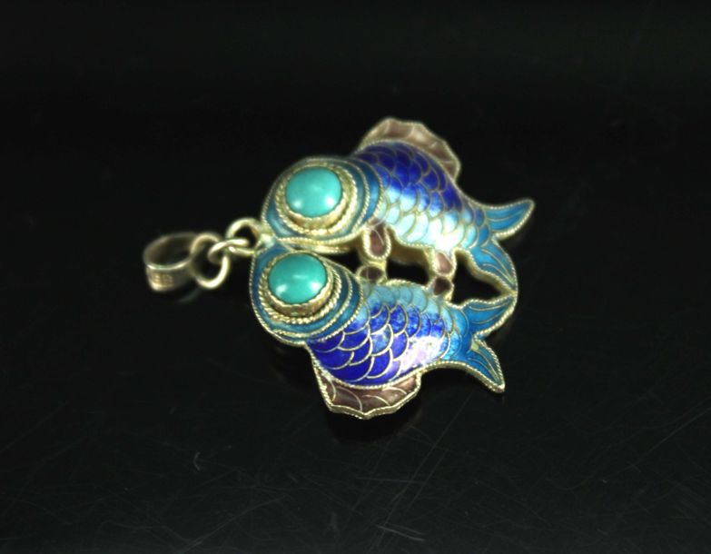 Gilt Silver Cloisonne Brooch and 4 Pair of Inlay Gem Earrings