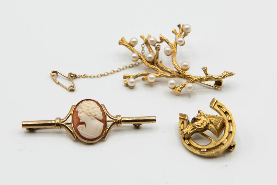 A COLLECTION OF THREE 9CT YELLOW GOLD BROOCHES, including a horseshoe, a cameo s…