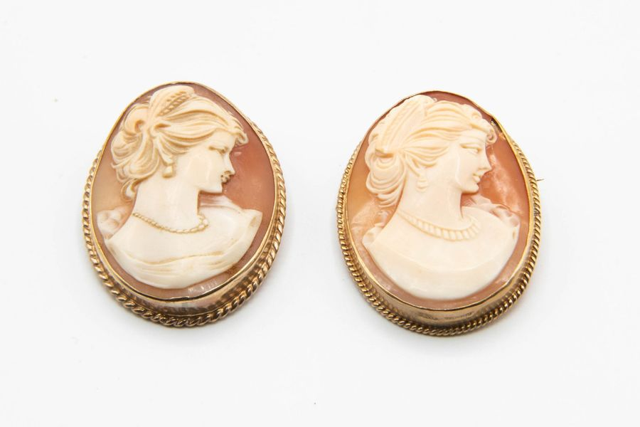 TWO VICTORIAN 9CT GOLD MOUNTED CAMEOS, of oval form with carved profile of a lad…