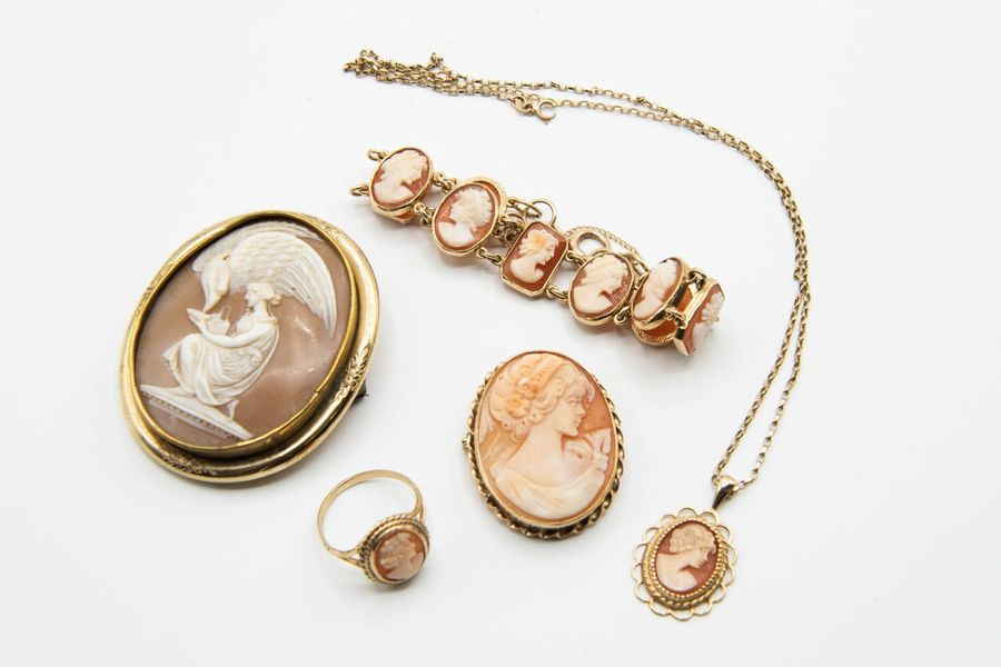 A COLLECTION OF SHELL CAMEO JEWELLERY, to include two oval brooches, an oval pen…