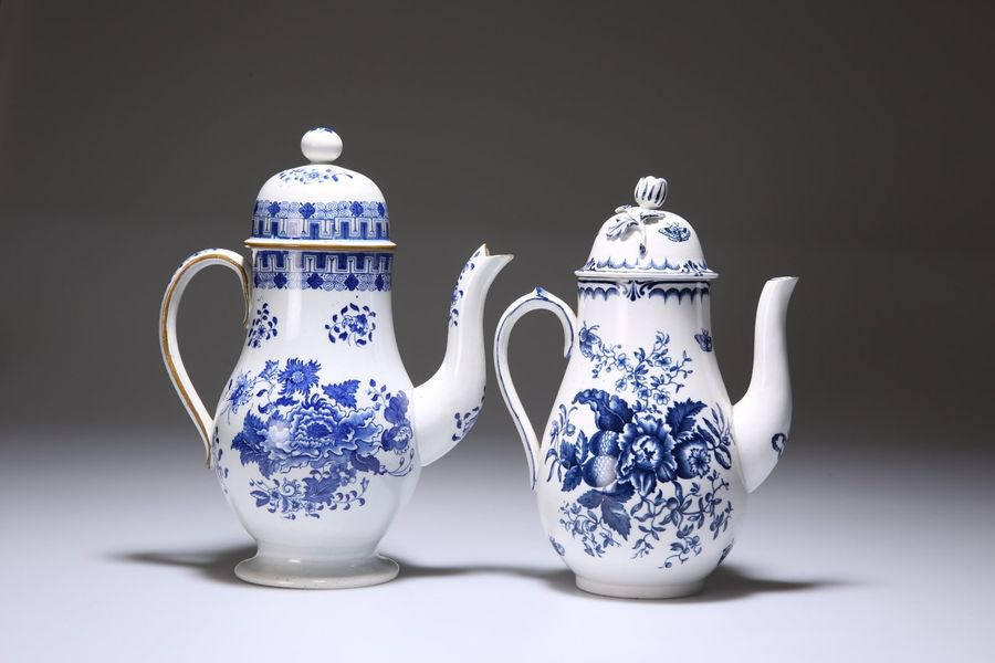 TWO BLUE AND WHITE COFFEE POTS, the first Booths earthenware, after a Worcester …