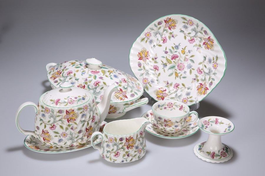 "A COLLECTION OF MINTON ""HADDON HALL"" TABLE WARES, comprising teapot, tureen, cre…"