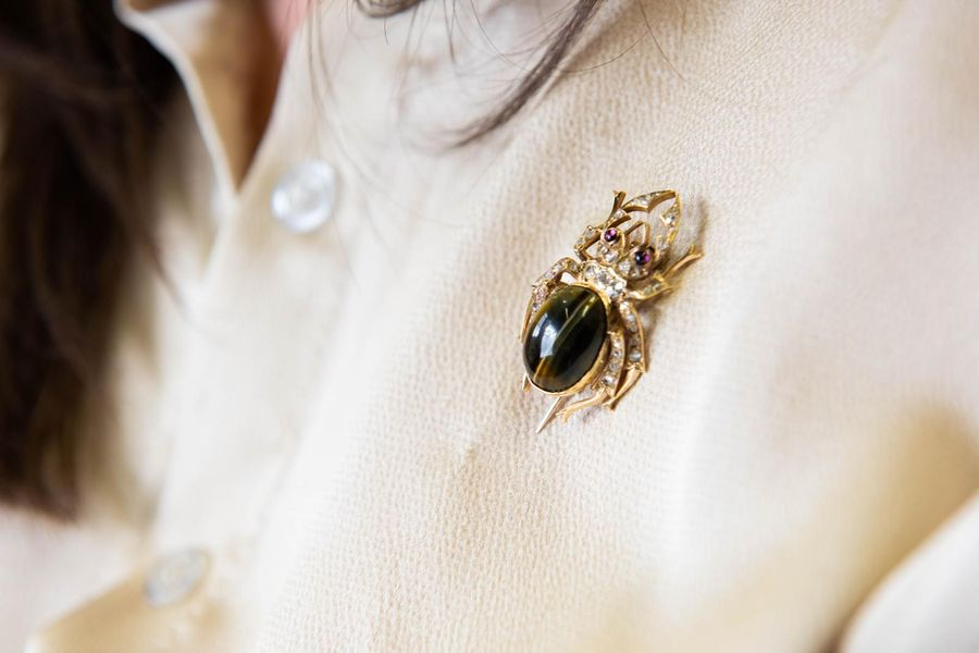 AN EARLY VICTORIAN BEETLE BROOCH, an oval cabochon cut tigers eye set as the bod…