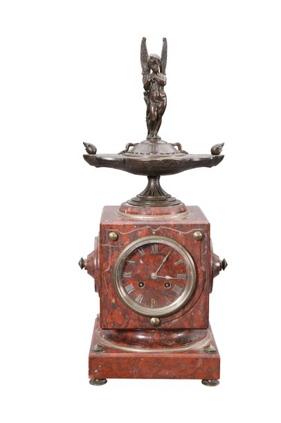 A FRENCH BRONZE AND ROUGE MARBLE MANTEL CLOCK, 19TH CENTURY, the square case sur…