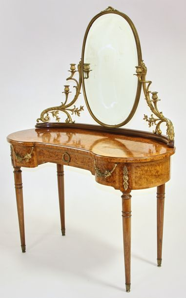 19th century French marquetry vanity, having bronze mounts and candelabra sconce…