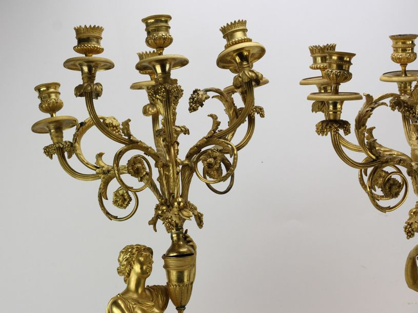 Pair of early 19th century French Empire figural candelabra, gilt bronze and mar…