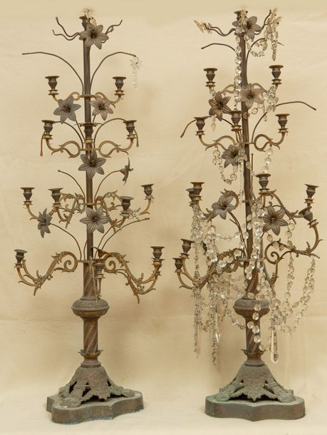 """Pair of 19th century French tall brass candelabra, 49"""" x 19""""."""
