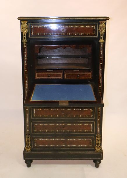 Napoleon III secretaire a abattant, ebonized wood, ormolu mounted, with mother o…