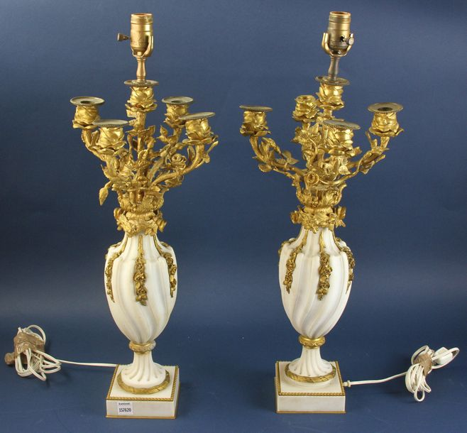 "Pair of 19th century marble and bronze candelabra, 24"" (to bottom of socket) x 7…"
