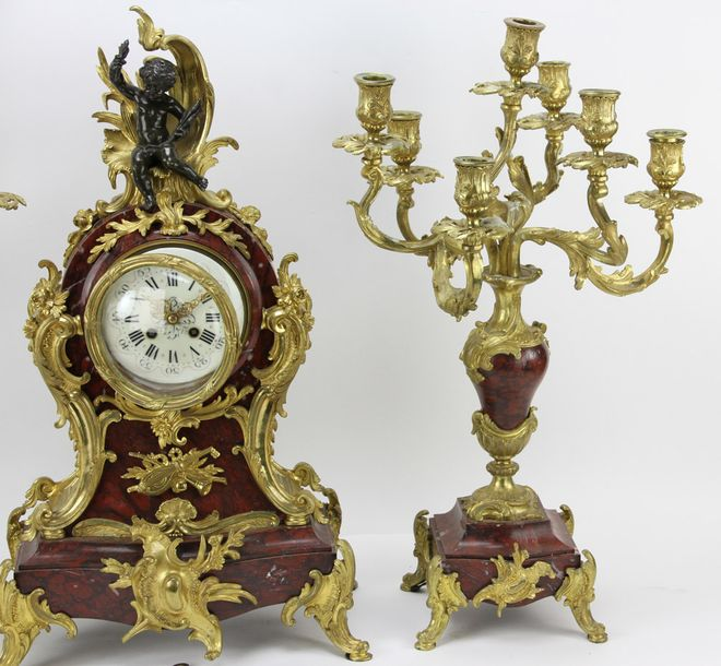 19th century French Louis XV garniture set, three pieces having fine ormolu bron…