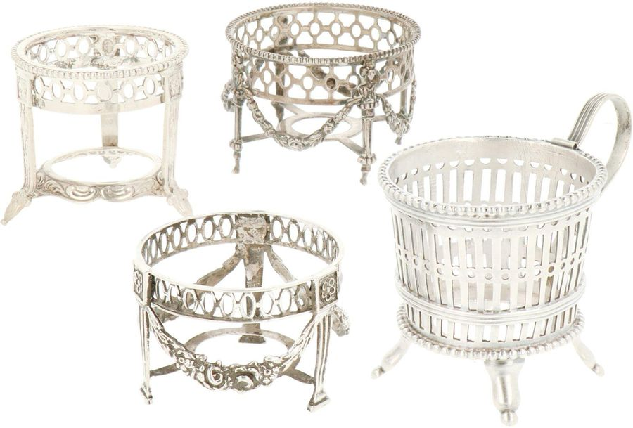 (4) Piece lot salt cellar frames silver. In various manners, early 20th century,…