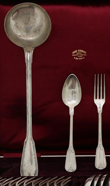(25) Piece flatware collection cassette silver. Consisting of 12 spoons, 12 fork…