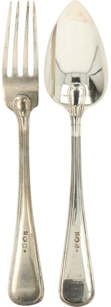 (24) Piece flatware collection cassette silver. Consisting of 12 dinner spoons a…
