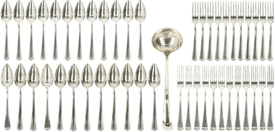 """(49) Piece flatware collection set incl. Soeplouche """"Haags Lofje"""", silvered. Exe…"""