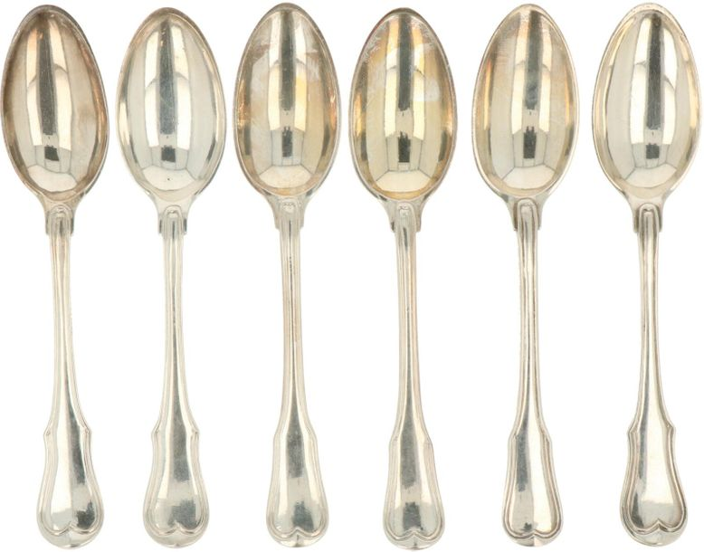 (3+3) Piece lot with spoons silver. Almost identical cast spoons with fillet bor…