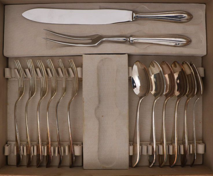 "(49) Piece flatware collection cassette silver. The Netherlands, Zeist, ""M.J. Ge…"