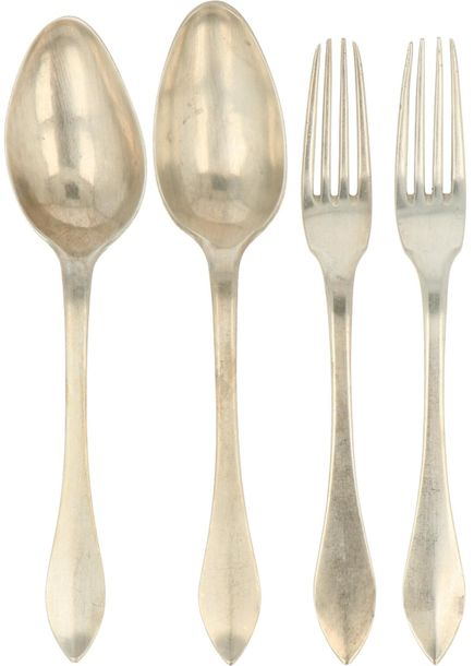 "(4) Piece lot with flatware collection (1798 1809) silver. Executed in ""glad poi…"
