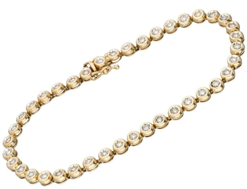 Yellow gold tennis bracelet, with approx. 0.40 ct diamond 14 ct. Master mark: Be…