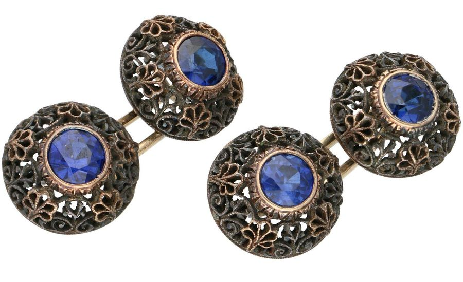 Gold / silver filigree cufflinks, with synthetic sapphire 14 ct. And BLA silver.…