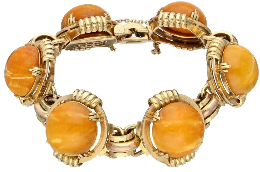 Yellow gold bracelet, with amber 14 ct. With safety chain, partially rose gold s…