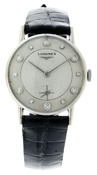 Longines wittnauer 399932 Men's watch Approx. 1940. Case: 14 ct white gold Strap…