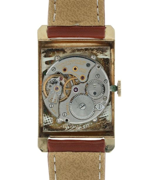 Longines wittnauer 909044 Men's watch Approx. 1940. Case: 14 ct gold Strap: leat…